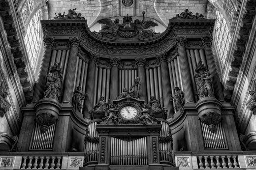 Cathedral Organ in Paris, France. Black and white.