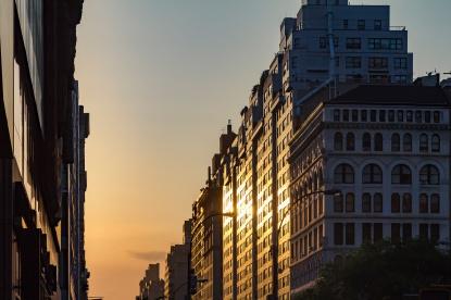 Manhattanhenge solstice sunset in New York City