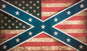 American and confederate flag concept background