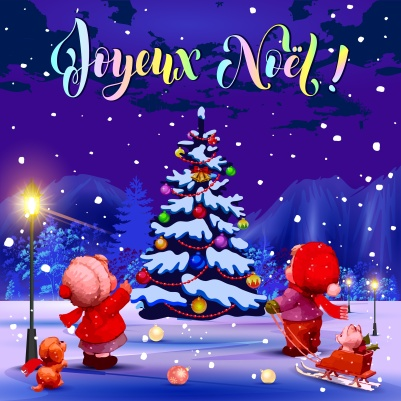 Merry Christmas. Congratulations in French. Illustration. Funny kids near a Christmas tree in the park. Purple background.