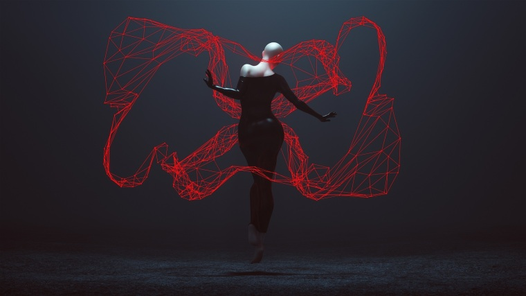 Floating Black Demon Shrink Wrapped Futuristic Haute Couture Dress and Red Neon Lattice Light Wave Abstract Demon 3d illustration 3d render