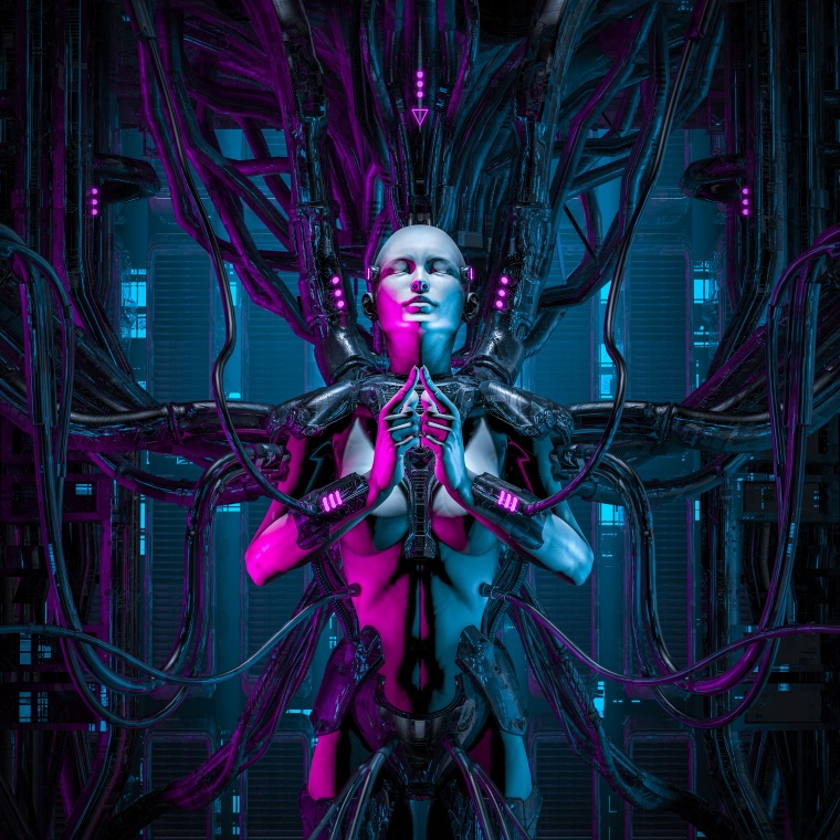 The quantum zen queen / 3D illustration of female android hardwired to computer core